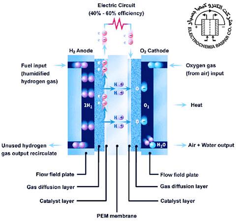 ساختار و اجزای اصلی تشکیلدهنده یک پیل سوختی پلیمری، نفیون